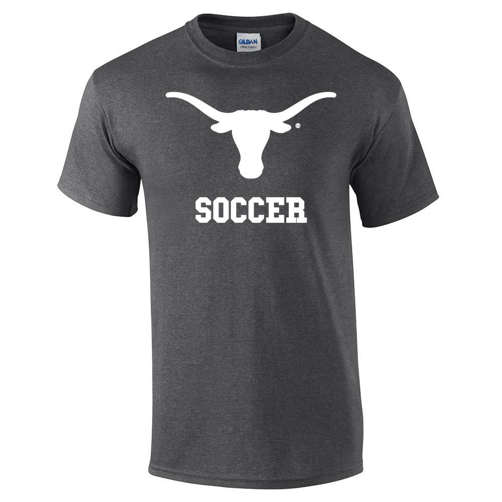 Design t shirt soccer -  Team Design Dark Grey Shirt With White Longhorn And Soccer Items 35a 35h 20 Available In Sizes Youth S Youth Xl And
